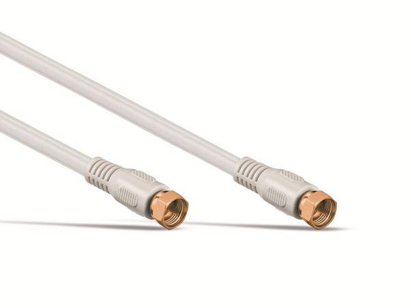 SAT-Antennenanschlusskabel, 2x F-Stecker, weiß, 2,5m, 100dB, vergoldet