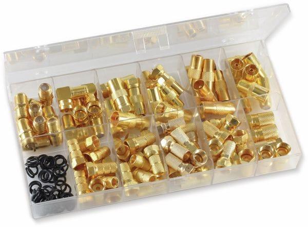 Sortimentskasten F-Stecker/F-Adapter vergoldet, 130-teilig