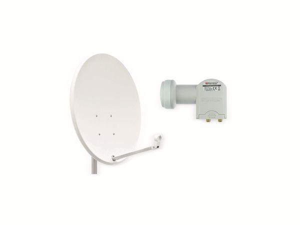 Set SAT-Antenne OPTICUM QA60 lichtgrau, mit Twin-LNB OPTICUM LTP-04H