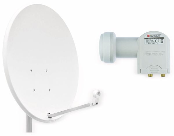 Set SAT-Antenne RED OPTICUM QA60 lichtgrau, mit Twin-LNB RED OPTICUM LTP-04H