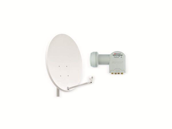 Set SAT-Antenne OPTICUM QA60 lichtgrau, mit Quad-LNB OPTICUM LQP-04H