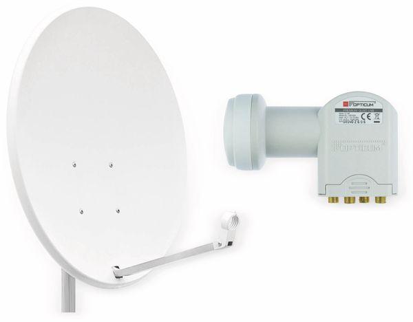 Set SAT-Antenne RED OPTICUM QA60 lichtgrau, mit Quad-LNB RED OPTICUM LQP-04H