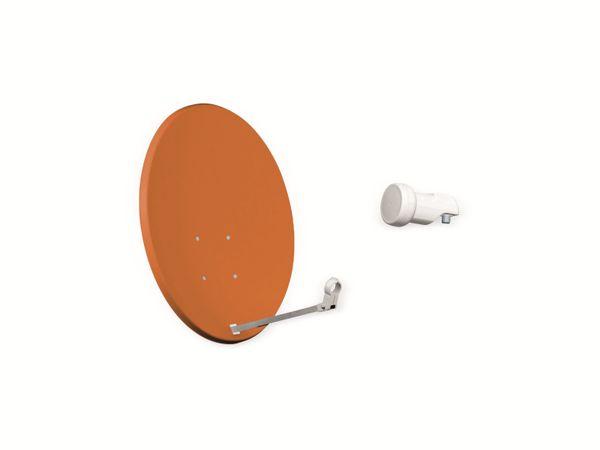 Set SAT-Antenne OPTICUM QA60 ziegelrot, mit Single-LNB OPTICUM LSP-02G