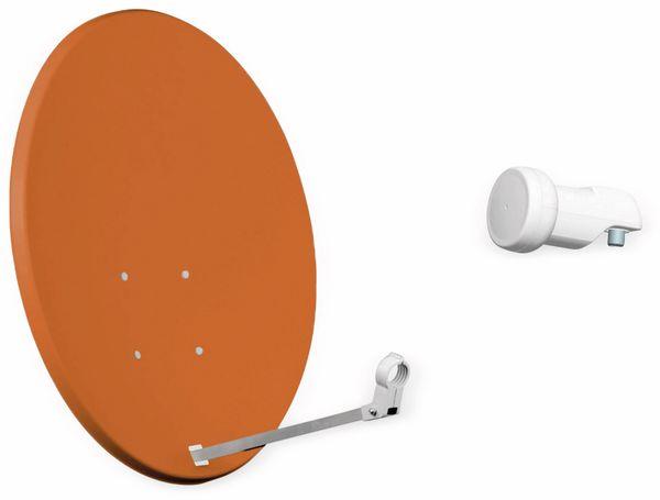 Set SAT-Antenne RED OPTICUM QA60 ziegelrot, mit Single-LNB RED OPTICUM LSP-02G