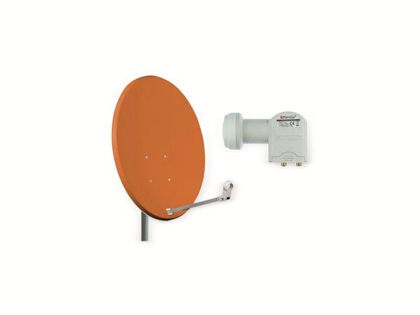Set SAT-Antenne OPTICUM QA60 ziegelrot, mit Twin-LNB OPTICUM LTP-04H