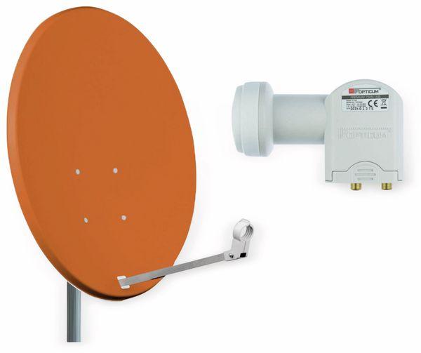Set SAT-Antenne RED OPTICUM QA60 ziegelrot, mit Twin-LNB RED OPTICUM LTP-04H