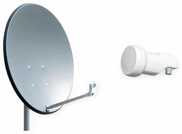 Set SAT-Antenne RED OPTICUM QA60 anthrazit, mit Single-LNB RED OPTICUM LSP-02G