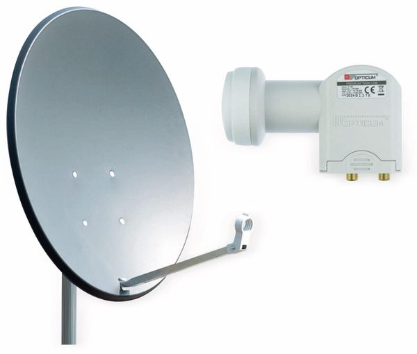 Set SAT-Antenne RED OPTICUM QA60 anthrazit, mit Twin-LNB RED OPTICUM LTP-04H