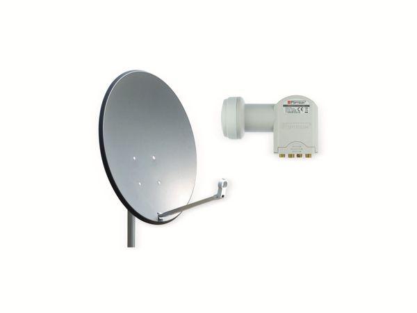 Set SAT-Antenne OPTICUM QA60 anthrazit, mit Quad-LNB OPTICUM LQP-04H