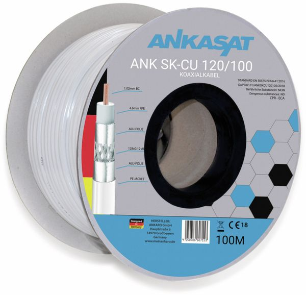 Koaxialkabel ANKASAT, 100 m, weiß, 6,8 mm, CU, 120 dB - Produktbild 2