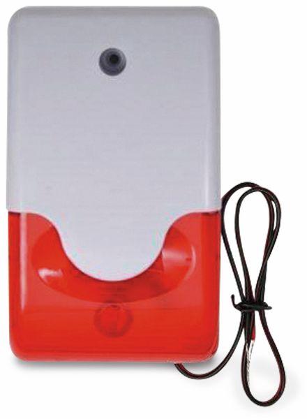 Alarmsirene mit Blitzlicht, 12 V-, 110 dB, weiß/rot