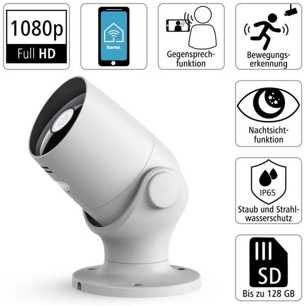 Überwachungskamera HAMA Outdoor, WLAN, Nachtsicht, 1080p, weiß - Produktbild 3