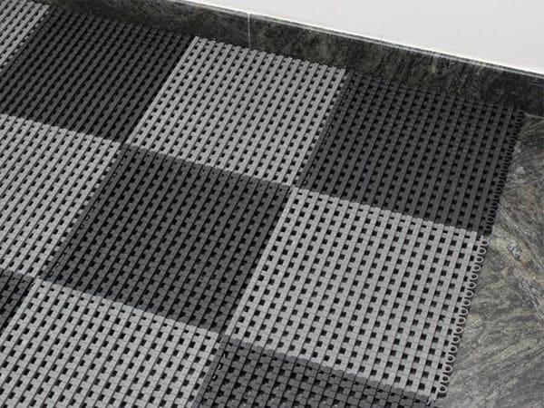 PVC Duschmatte, Bodenrost, 300x300x12 mm, beliebig anreihbar, grau - Produktbild 2