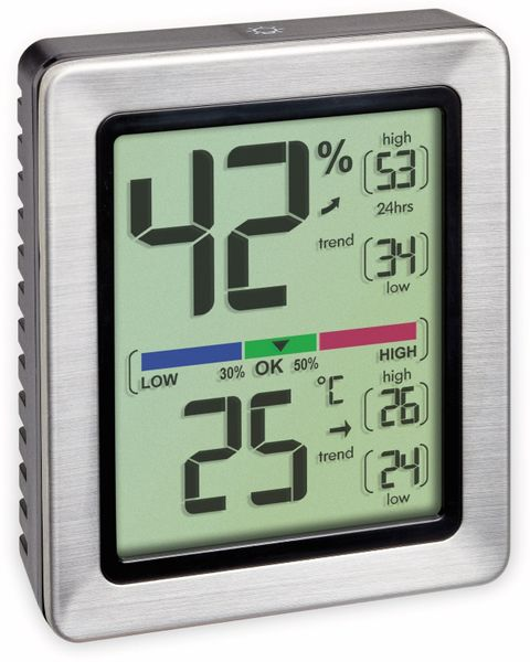 Digitales Thermo-Hygrometer TFA Exacto, 30.5047.54, silber
