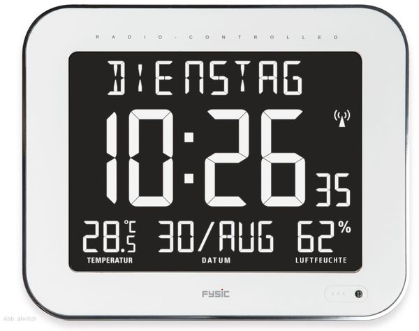 Digitale Tischuhr ALECTO FK-777, mit Thermometer und Hygrometer, weiß