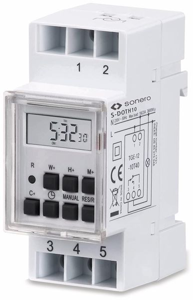 Digitale Zeitschaltuhr SONERO S-DOTH10, 3500 W, DIN-Schiene, weiß