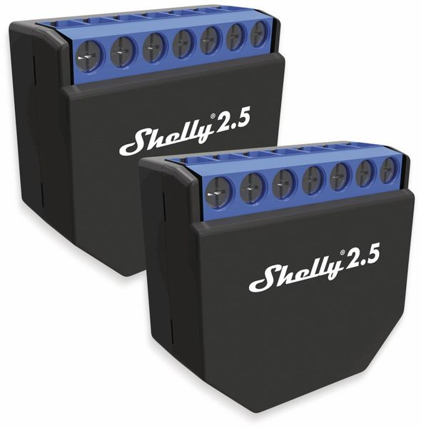 Dual-WiFi-Switch SHELLY 2.5, Dual-Schalter, 2er Set