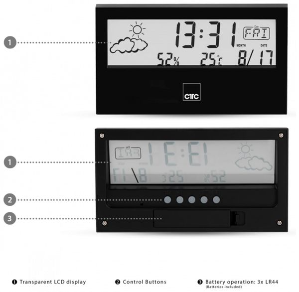 Wetterstation CLATRONIC WSU 7022, schwarz - Produktbild 5