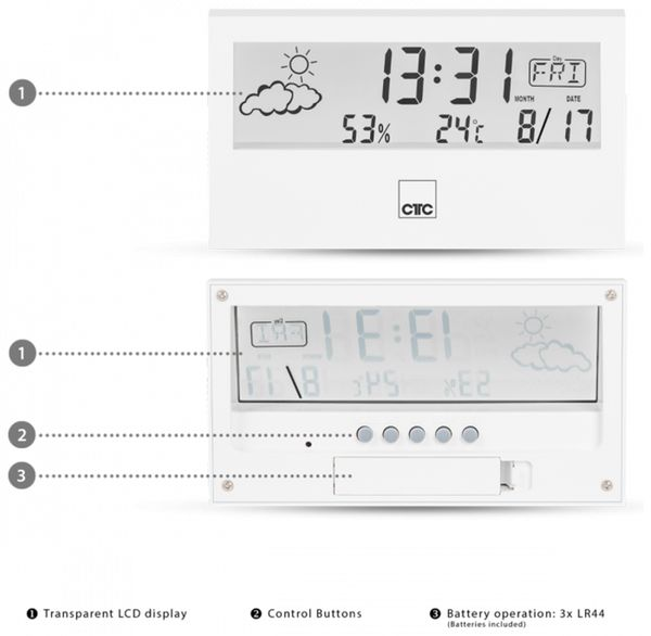 Wetterstation CLATRONIC WSU 7022, weiß - Produktbild 4