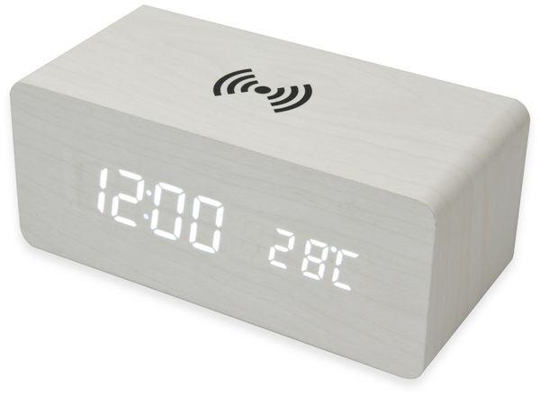 Digitalwecker NABO CL 210, mit QI-Ladefunktion und Holzoptik, weiß - Produktbild 2