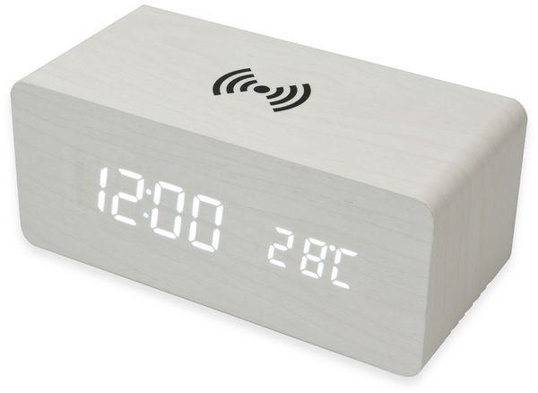 Digitalwecker NABO CL 210, mit QI-Ladefunktion und Holzoptik, weiß - Produktbild 6