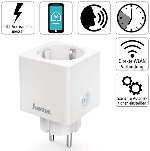 WLAN-Steckdose HAMA Mini, 3680 W, 16 A, mit Stromverbrauchsmessung - Produktbild 2