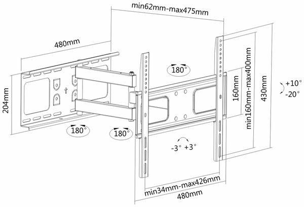 TV-Wandhalter PUREMOUNTS PM-FM30-400, VESA 400x400mm - Produktbild 4