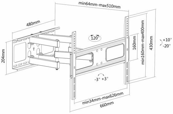 TV-Wandhalter PUREMOUNTS PM-FM31-600, VESA 600x400mm - Produktbild 4