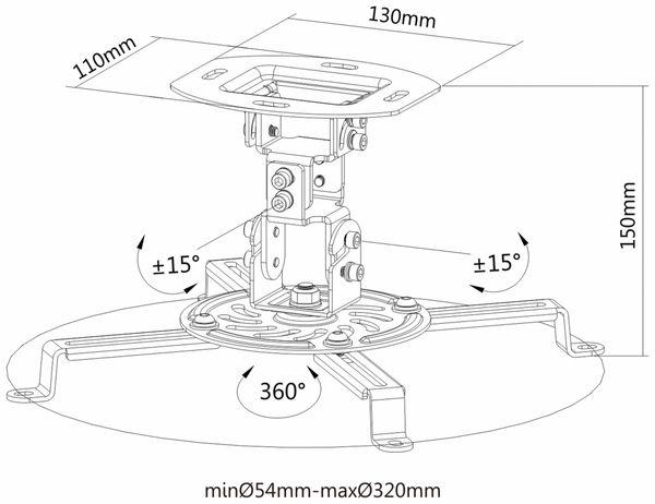 Beamer-Deckenhalterung PUREMOUNTS PM-Spider-10W, 54...320mm, weiß - Produktbild 4