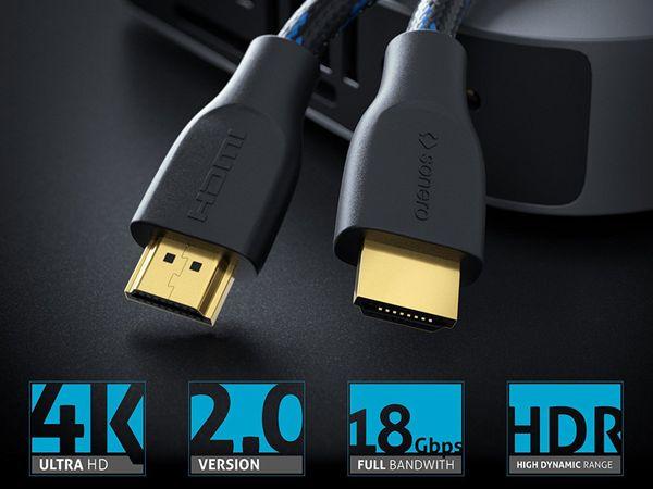 HDMI-Kabel SONERO, Premium High Speed mit Ethernet, Nylonmantel, 0,5 m - Produktbild 3