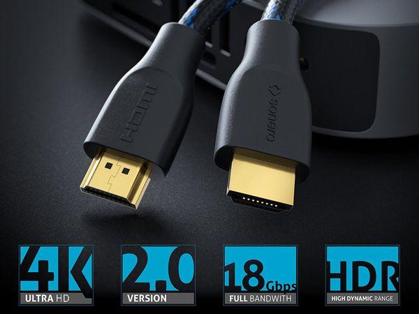 HDMI-Kabel SONERO, Premium High Speed mit Ethernet, Nylonmantel, 2,0 m - Produktbild 3