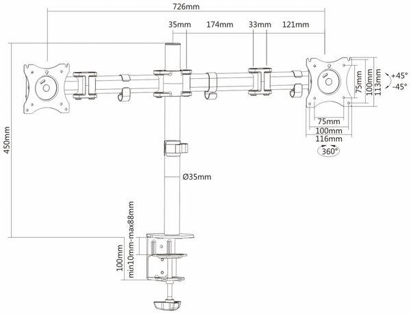 LCD-Schreibtischhalter PUREMOUNTS PM-Office-02, VESA 100x100mm - Produktbild 4