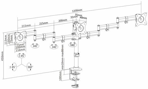 LCD-Schreibtischhalter PUREMOUNTS PM-Office-03, VESA 100x100mm - Produktbild 4