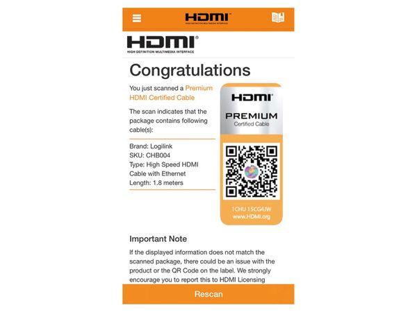 HDMI Kabel LOGILINK CHB004, HDMI 2.0b, schwarz, 1,8 m - Produktbild 4