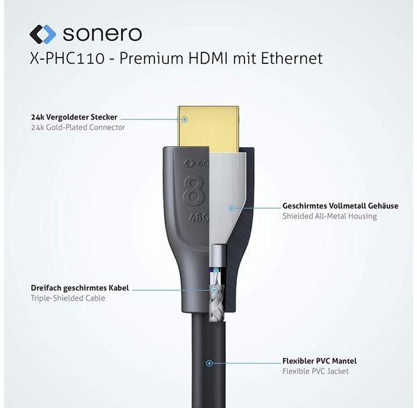 HDMI-Kabel SONERO, Premium High Speed mit Ethernet, 0,5 m, HDMI 2.1 - Produktbild 2