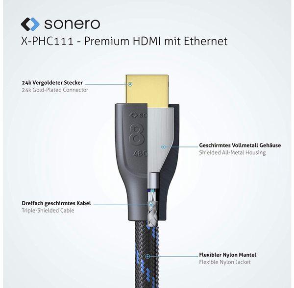 HDMI-Kabel SONERO, Premium High Speed mit Ethernet, 1 m, HDMI 2.1, Nylongeflecht - Produktbild 2