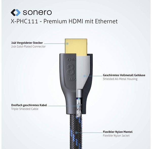 HDMI-Kabel SONERO, Premium High Speed mit Ethernet, 2 m, HDMI 2.1, Nylongeflecht - Produktbild 2