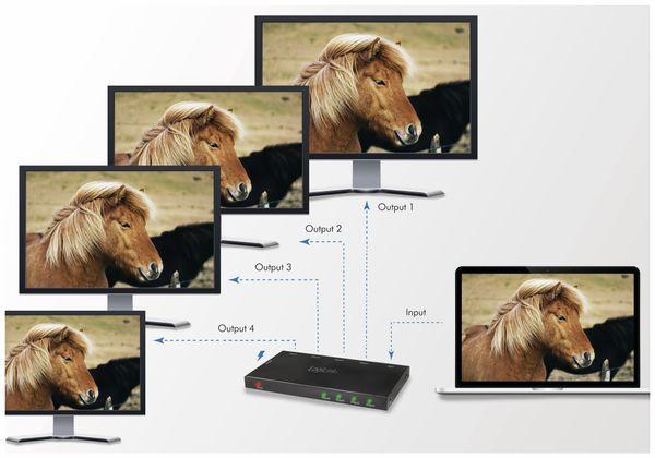HDMI-Splitter LOGILINK CV0141, Ultra Slim, 4K Pro 1 zu 4x Splitter - Produktbild 9