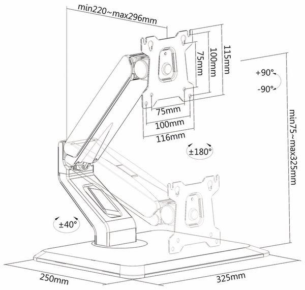 Monitorhalterung PUREMOUNTS PM-OFFICE-ST-10, VESA 100x100 mm - Produktbild 4
