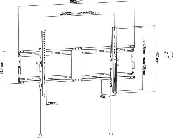 "TV-Wandhalter GOOBAY Pro TILT XL, 43...100"" (109...254 cm), 12° neigbar - Produktbild 7"