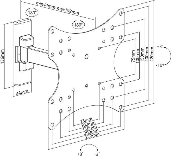 "TV-Wandhalter GOOBAY Basic Fullmotion S1, Single Arm, 23...42"" (58...107 cm) - Produktbild 7"