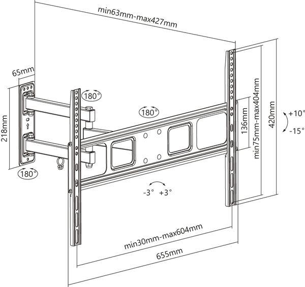 "TV-Wandhalter GOOBAY Basic Fullmotion L, 37...70"" (94...178 cm) - Produktbild 8"