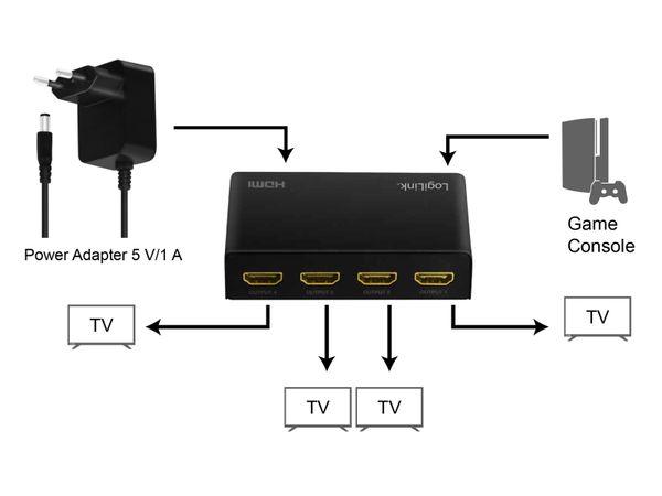 HDMI-Splitter LOGILINK HD0038, 1x4-Port, 4K/60 Hz, Downscaler, EDID - Produktbild 6
