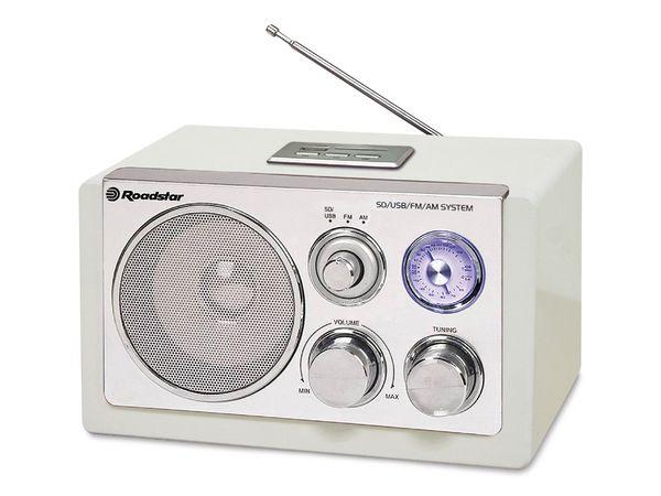Retro-Radio ROADSTAR, UKW/MW, USB, SD, weiß