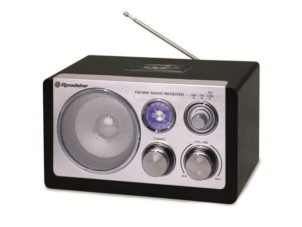Retro-Radio ROADSTAR, UKW/MW, USB, SD, schwarz