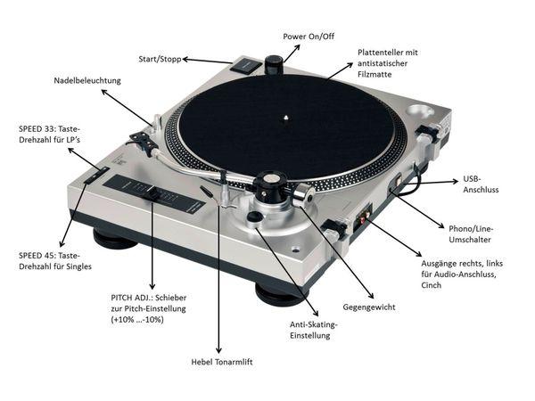 Schallplattenspieler DUAL DTJ 301, USB, silber - Produktbild 7