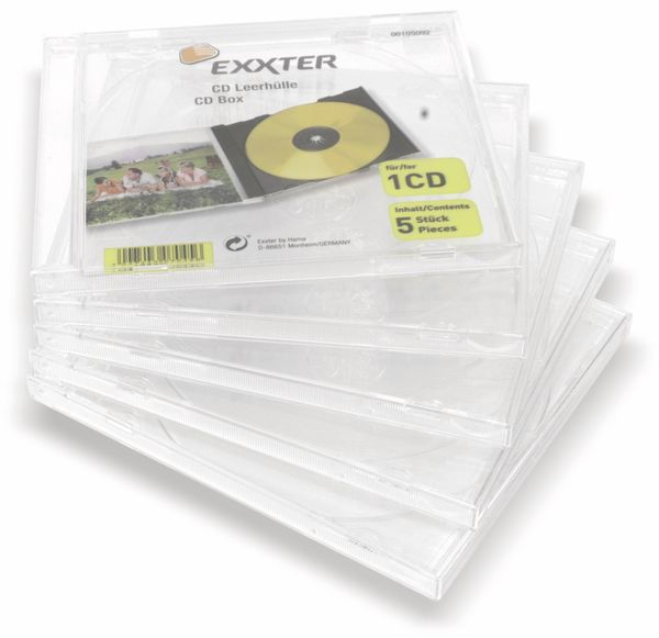 CD-Leerhülle EXXTER 105091, 5 Stück, transparent - Produktbild 1
