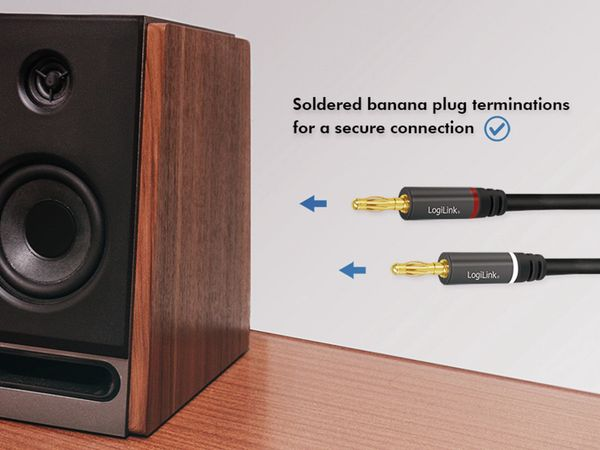 Lautsprecherkabel LOGILINK CA1210, 3 m, 2x2 Bananenstecker, Nylon, schwarz - Produktbild 3