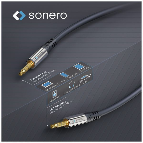Klinkenkabel SONERO, 3,5 mm, Stereo, 3,00 m, schwarz - Produktbild 4
