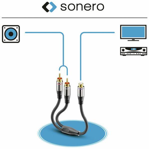 Audioadapter SONERO, 0,20 m, 2x Cinchstecker auf Cinchbuchse - Produktbild 5